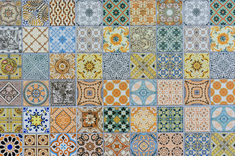 Wall ceramic tiles patterns Mega set stock photos
