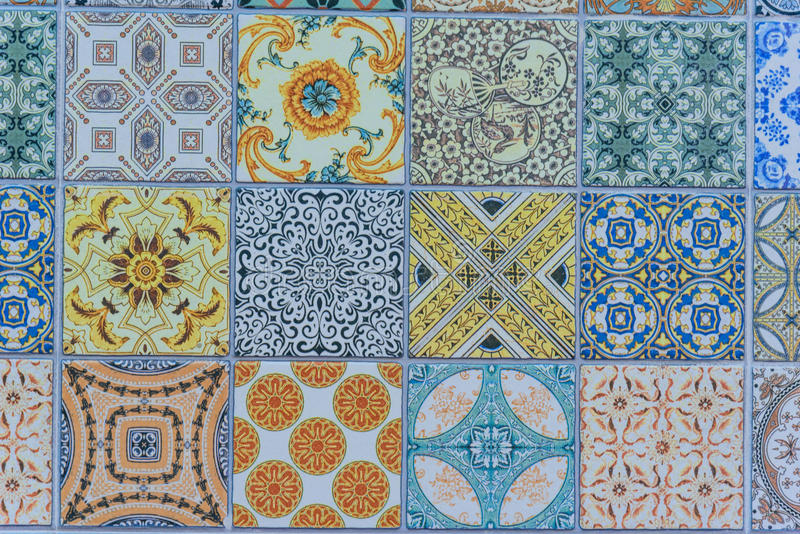 Wall ceramic tiles patterns Mega set from Thailand stock photos