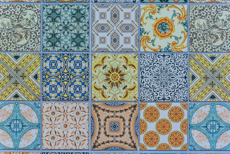 Wall ceramic tiles patterns Mega set from Thailand stock photography