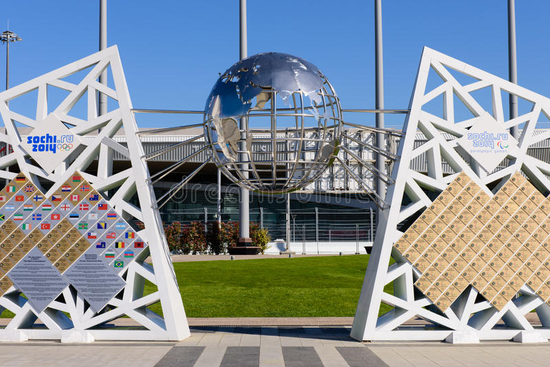 The Wall of Champions games. SOCHI, RUSSIA - MAY 3: Decorative and sculptural composition The Wall of Champions games in the Sochi Olympic Park in May 3, 2015 in royalty free stock photography