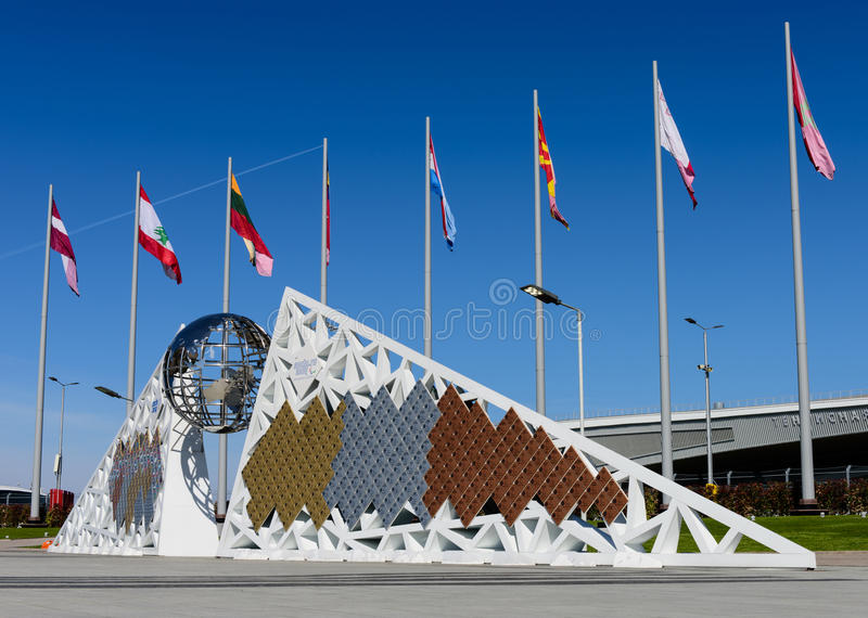 The Wall of Champions games. SOCHI, RUSSIA - MAY 3: Decorative and sculptural composition The Wall of Champions games in the Sochi Olympic Park in May 3, 2015 in stock image