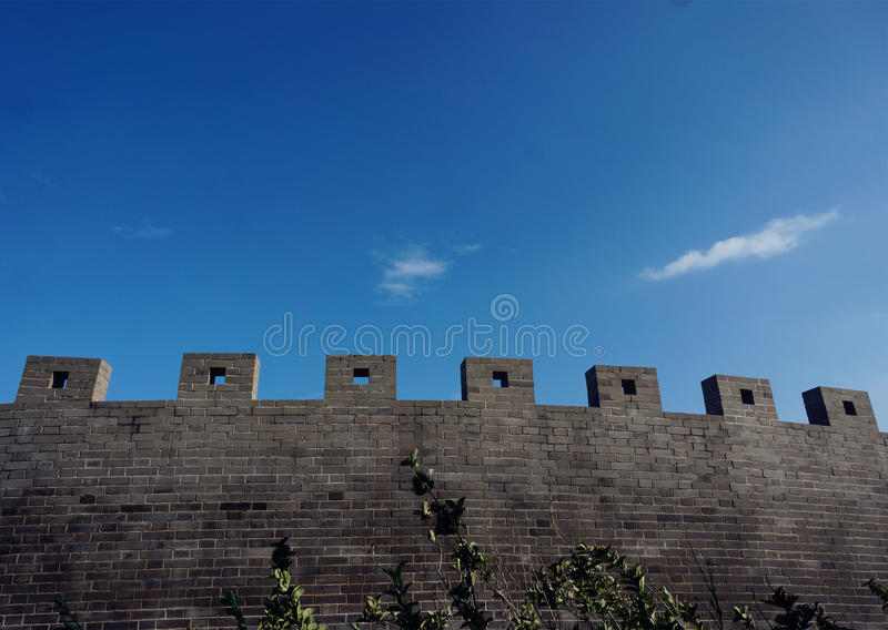 Wall am Chengshan-Kap in Weihai, Shandong Provinz, China stockbilder
