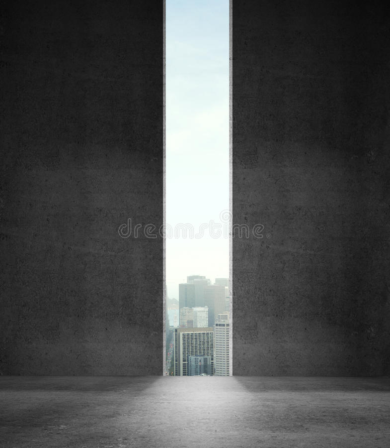 Wall with city stock image
