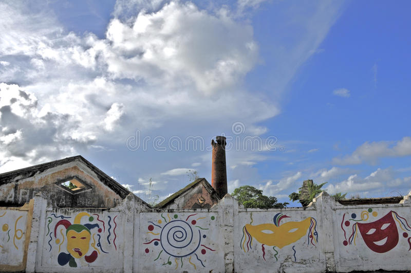 Wall of the city of Neopolis. State of Sergipe, images representing the main party Frevo royalty free stock photos