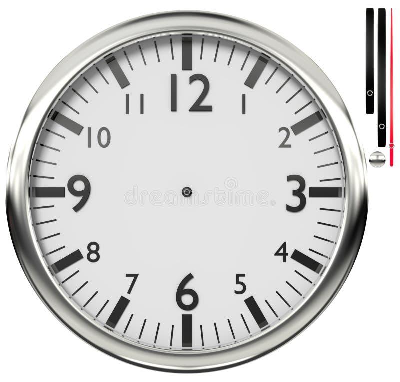 Wall clock. Shiny wall clock isolated on white background stock illustration