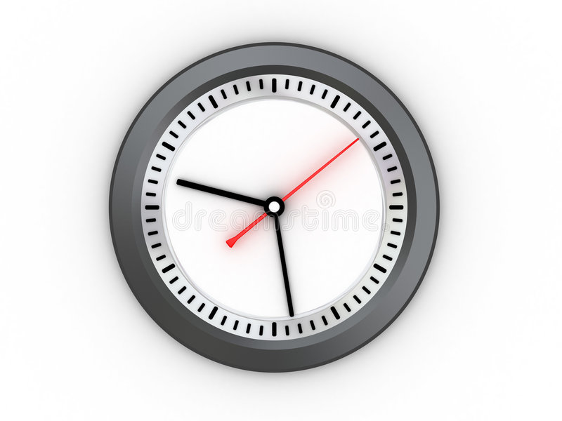 Wall clock. 3d illustration of wall clock over white background, morning royalty free illustration