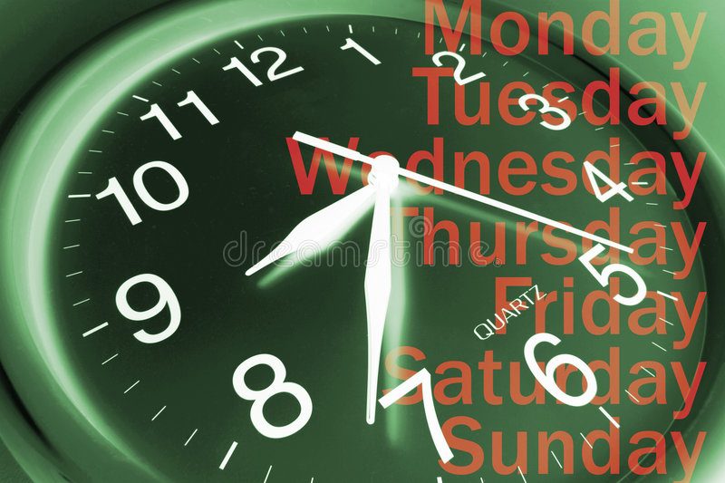 Wall Clock and Days. In Green Tone royalty free stock photo