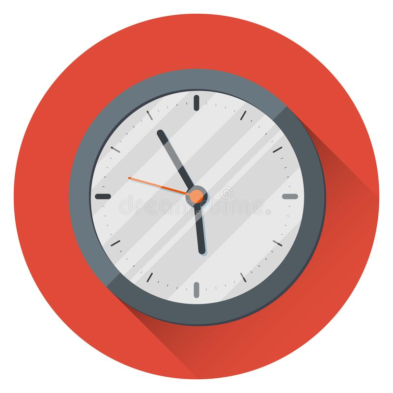 Wall Clock. 17:55. Five minutes to six. The end of the working day. On an orange background. royalty free illustration