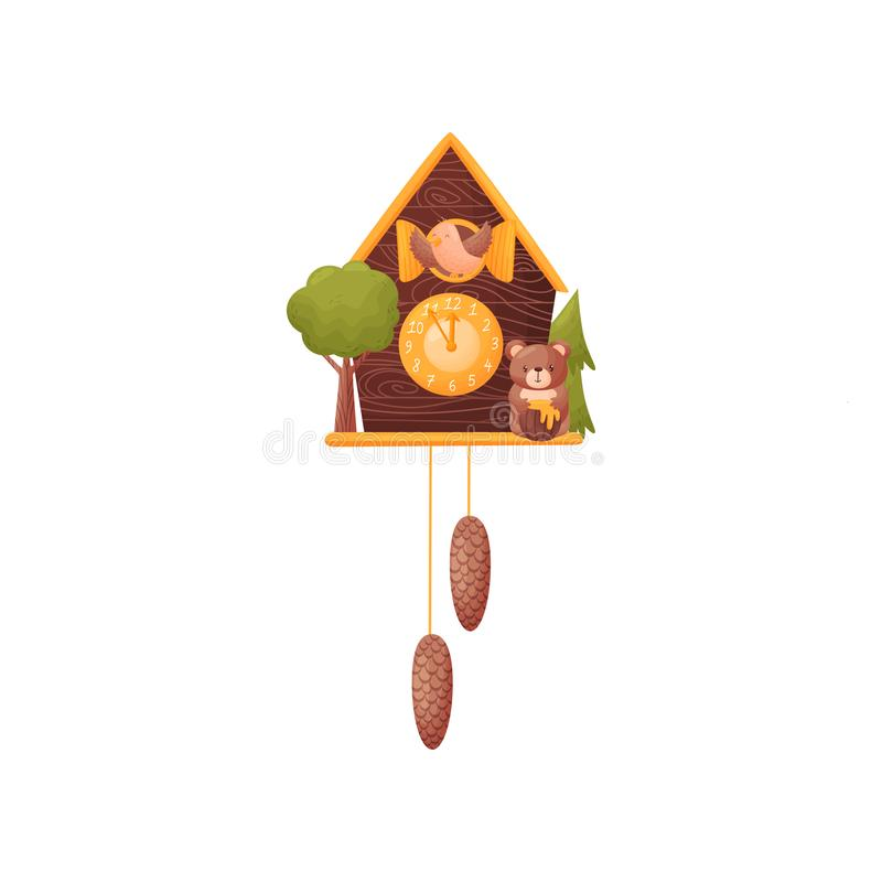 Wall clock in the form of a house. Bird looks out of the window. Bear with a barrel of honey. Vector illustration on a vector illustration