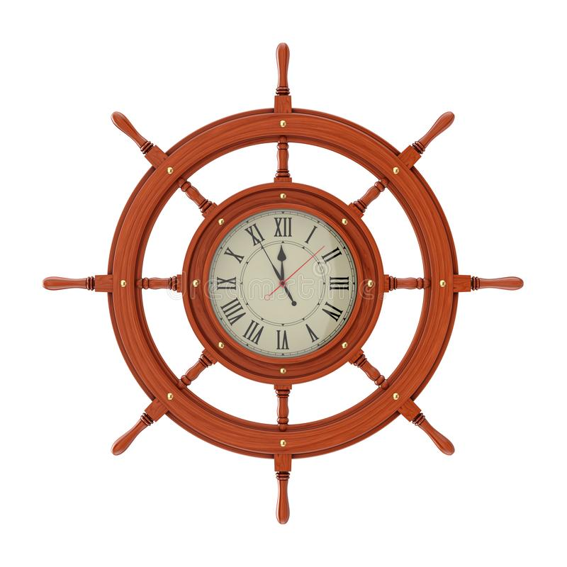 Wall Clock in the Form of Vintage Wooden Ship Steering Wheel. 3d Rendering vector illustration