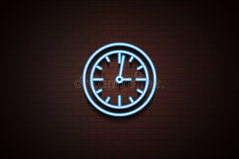wall clock icon in Neon stock illustration