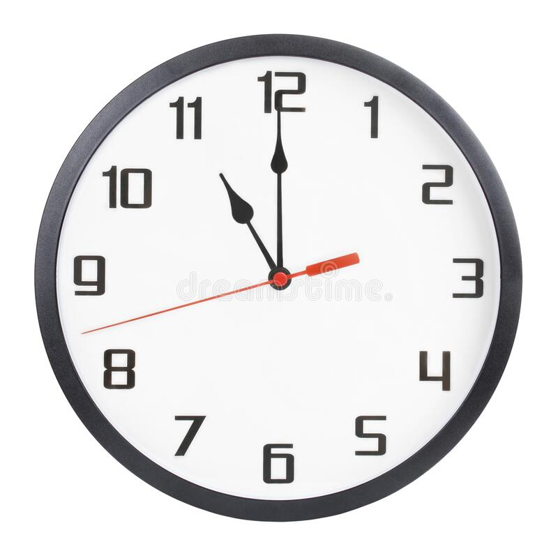 Free Wall Clock Isolated On White Background. 11 P.m. Or 11 A.m. Stock Photography - 180575452