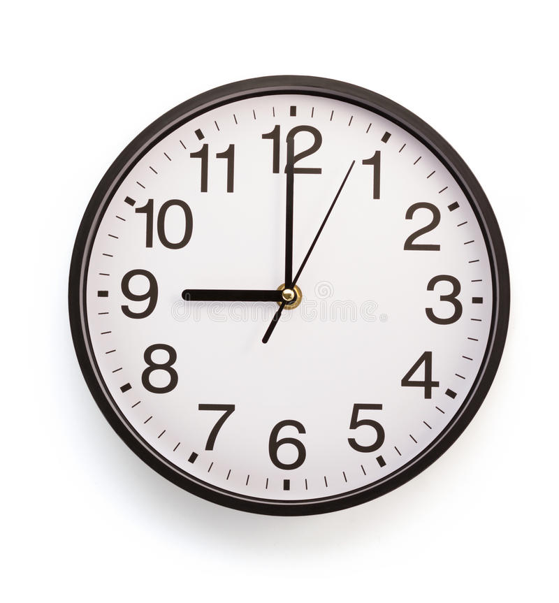 Wall clock isolated on white. Background royalty free stock photo