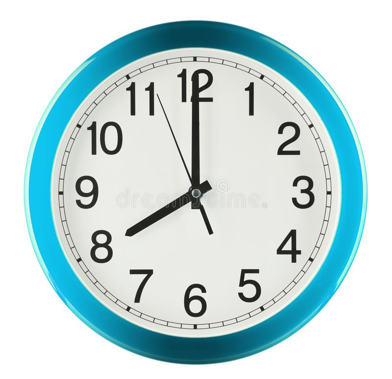 Wall clock isolated on white background. Eight oclock.  royalty free stock photography