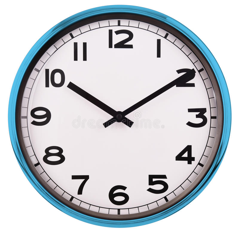Wall clock isolated on white. Ten past ten. Wall clock isolated on white background. Ten past ten royalty free stock photos