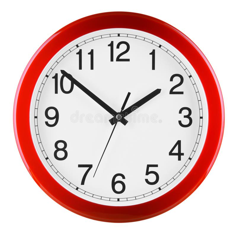 Wall clock isolated on white background. Ten to two.  royalty free stock images