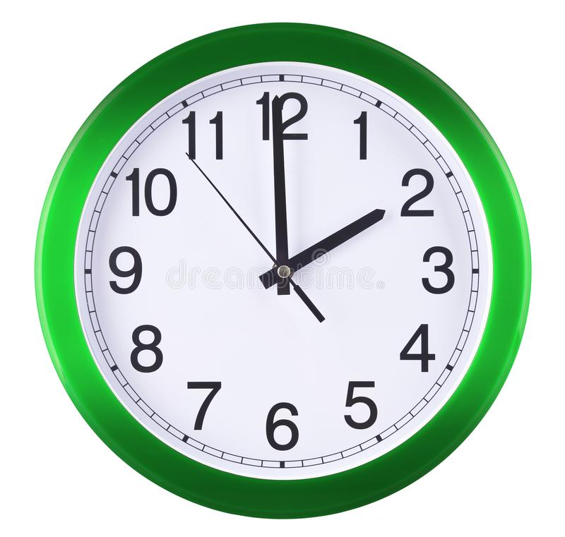 Wall clock isolated on white background. Two oclock.  stock photo