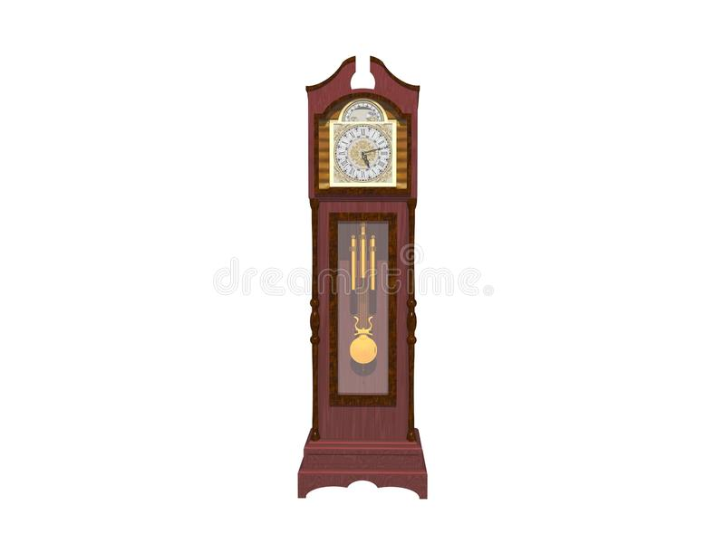 Wall clock isolated on white - 3d rendering stock illustration