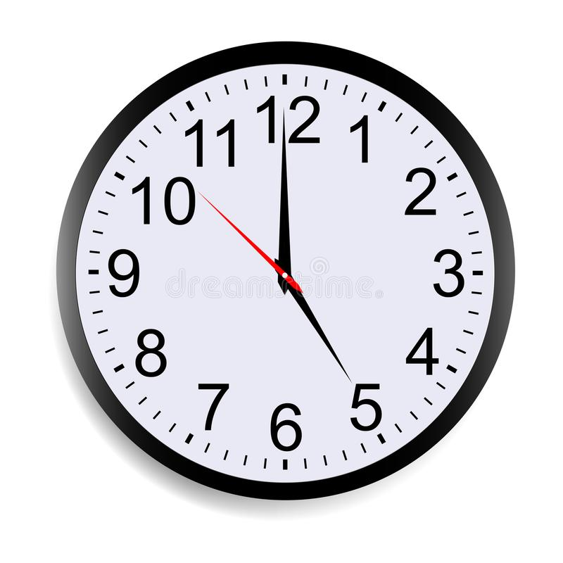 Wall clock mock up showing five o`clock. Isolated on white background. Vector illustration royalty free illustration