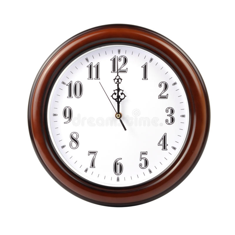 Wall clock - path. Wall clock on white with clipping path royalty free stock photo