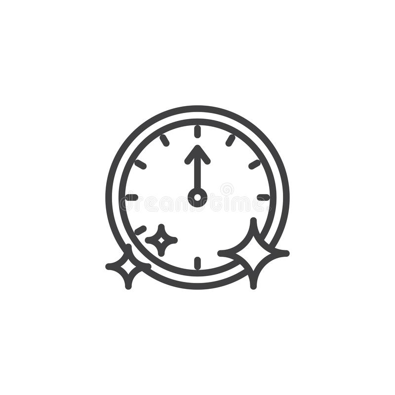 Wall clock pointing at 12 o`clock outline icon royalty free illustration