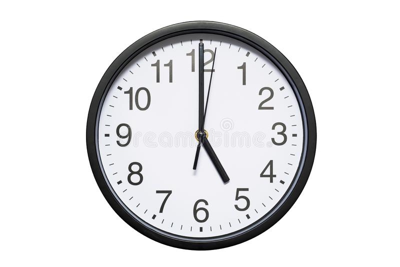 Wall clock shows time 5 o`clock on white isolated background. Round wall clock - front view. Seventeen o`clock.  stock images