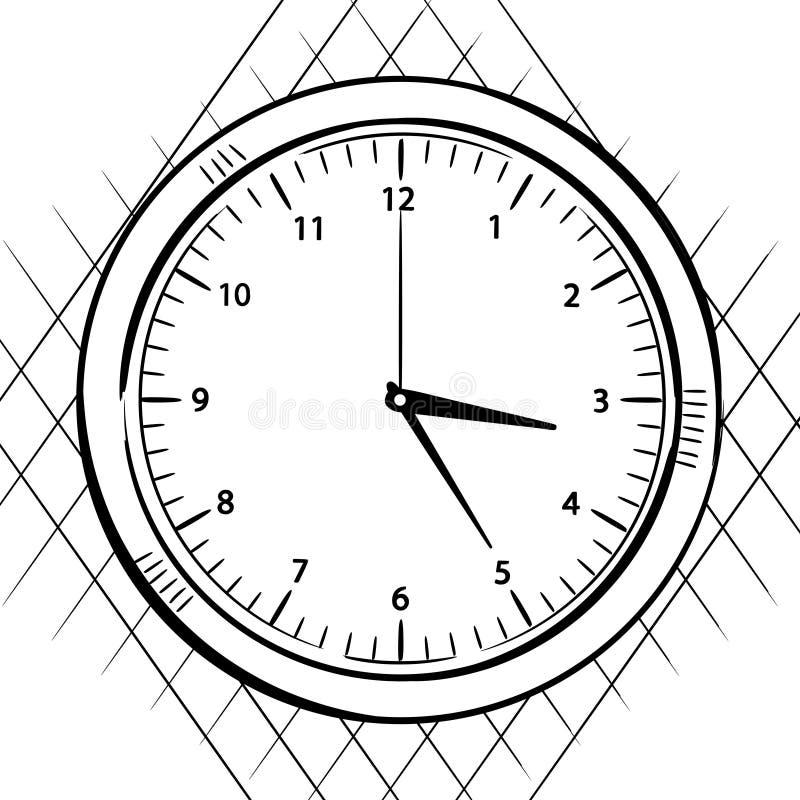 Satan Doomsday Clock 7 Black 8 99: Wall Clock Sketch Stock Illustration. Image Of Drawing
