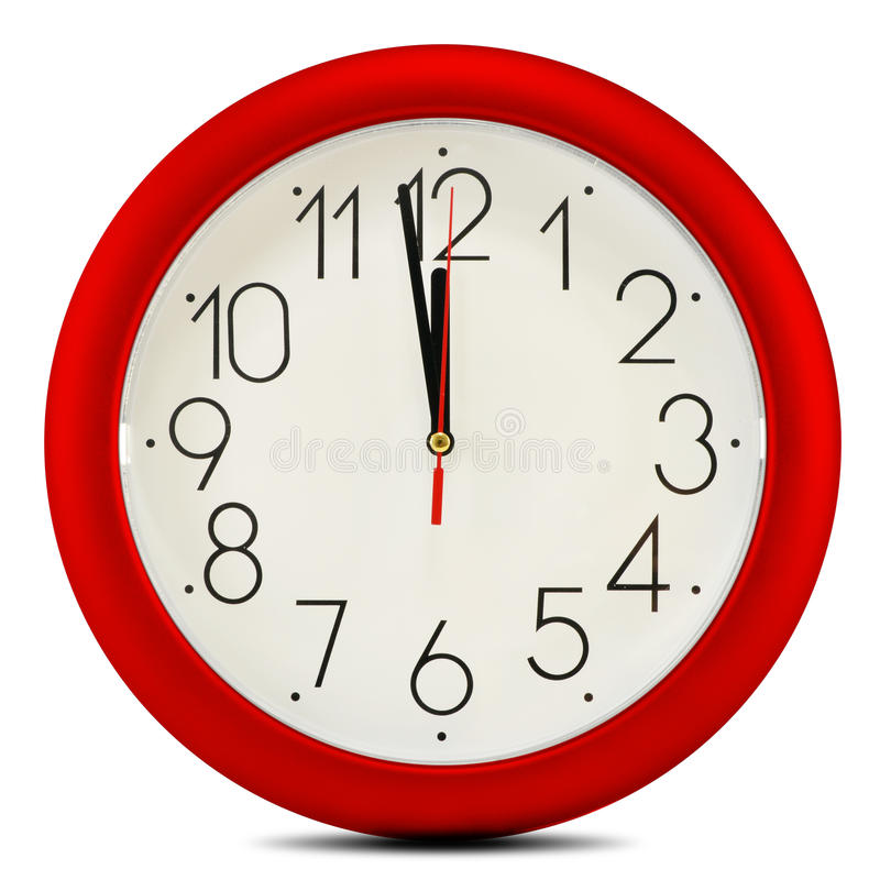 Wall clock on white background. Twelve o'clock.  stock photo