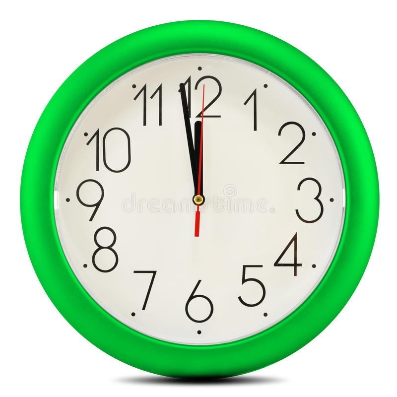 Wall clock on white background. Twelve o'clock.  stock image