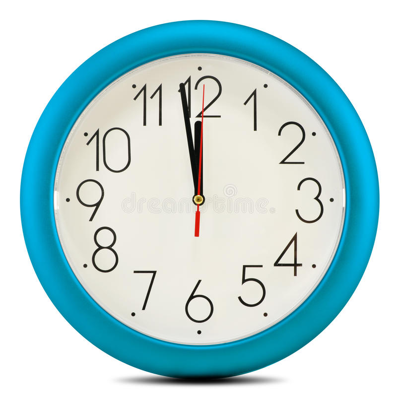 Wall clock on white background. Twelve o'clock.  royalty free stock photography