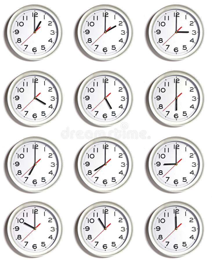 Wall of clocks royalty free stock images