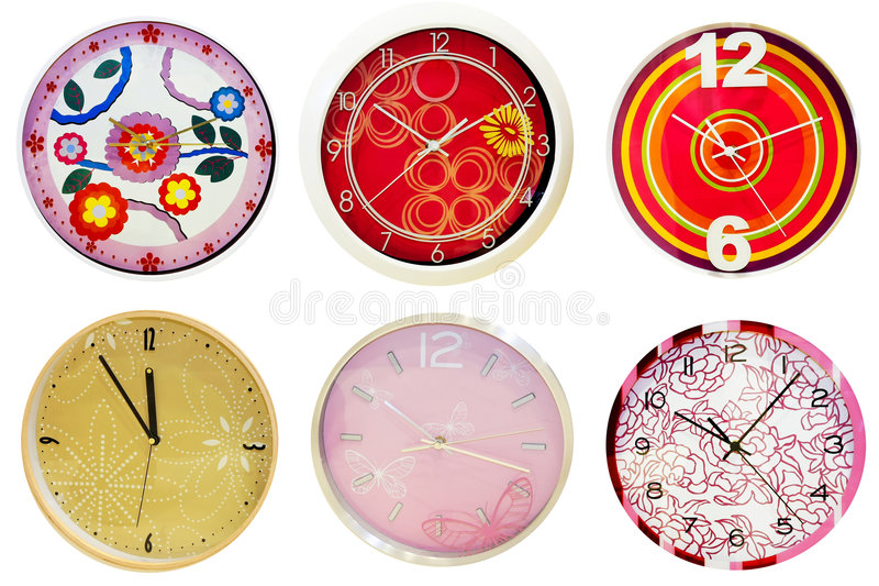 Wall clocks 2. Six analog round wall clocks isolated on white royalty free illustration