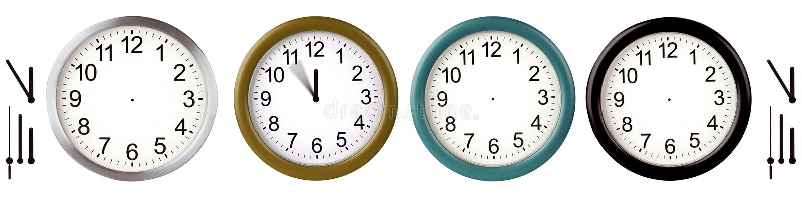 Wall clocks. Aluminum wall clocks isolated on white royalty free illustration