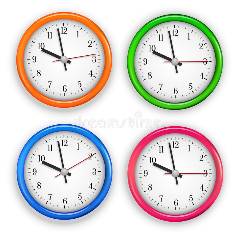Wall clocks. Collection of different colored wall clocks. Vector illustration vector illustration