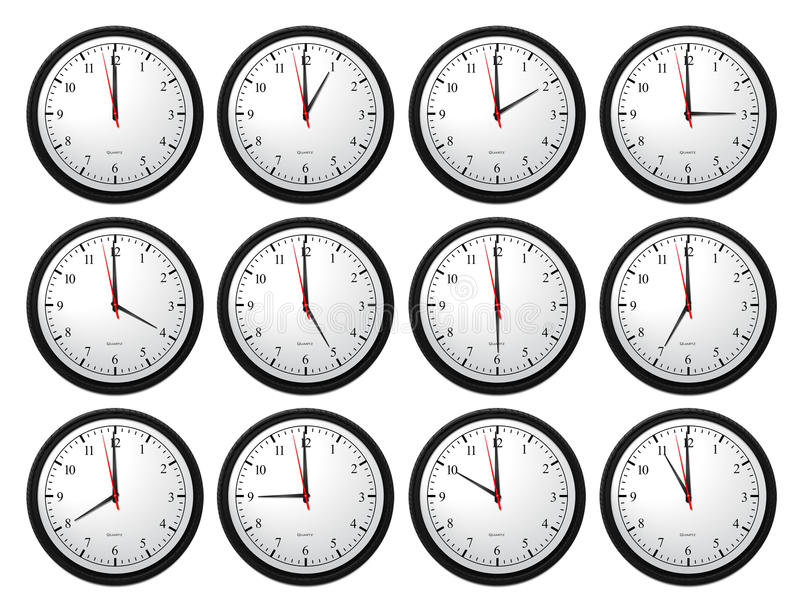 Wall Clocks - Showing All Times royalty free illustration