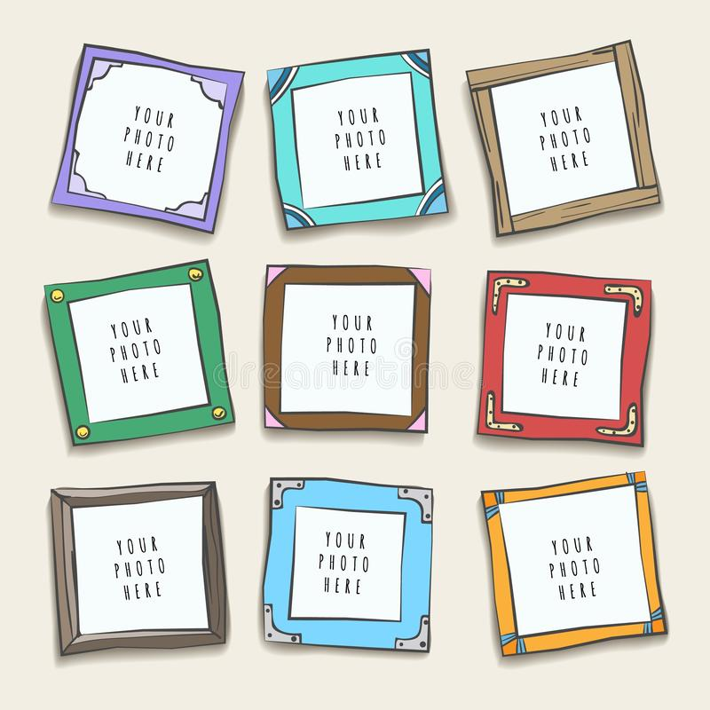 Wall collage picture frames. Photographing frame layout, pictures or photo frames gallery design, nice wall collage cartoon borders, vector illustration stock illustration