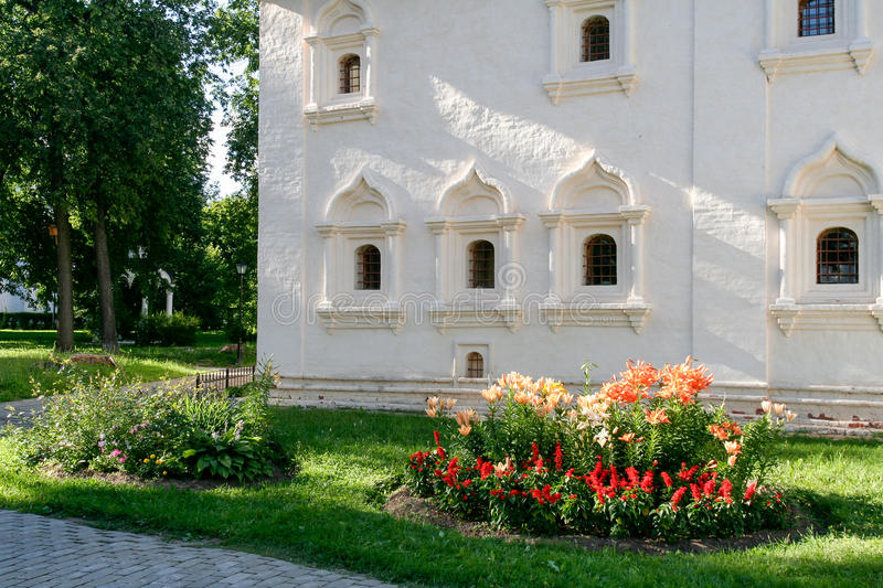 The wall of the community building of the Saviour Monastery of St. Euthymius, Russia, Suzdal royalty free stock photo