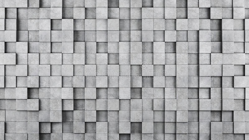 Wall of concrete cubes as wallpaper or background royalty free illustration