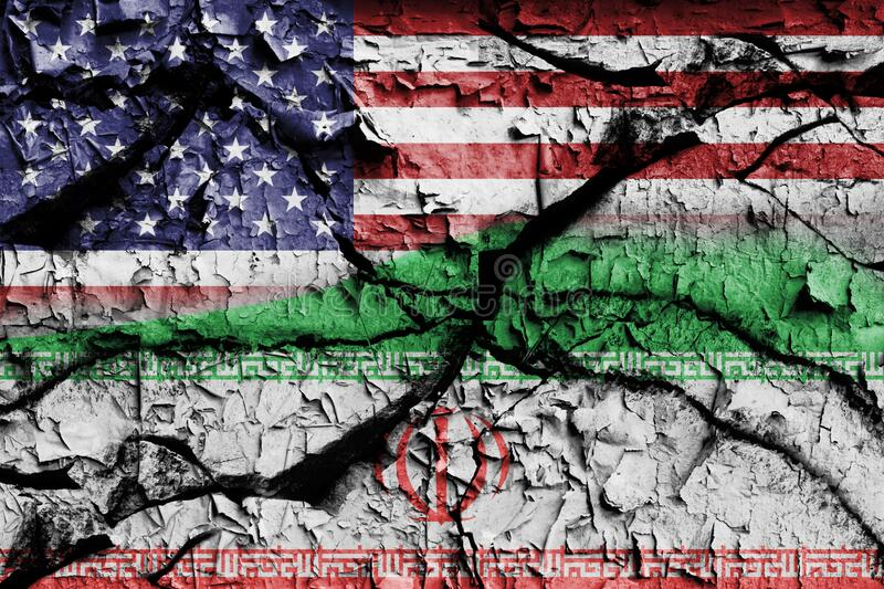 Wall cracked with the flags of the United States of America and Iran. Conceptual art stock images