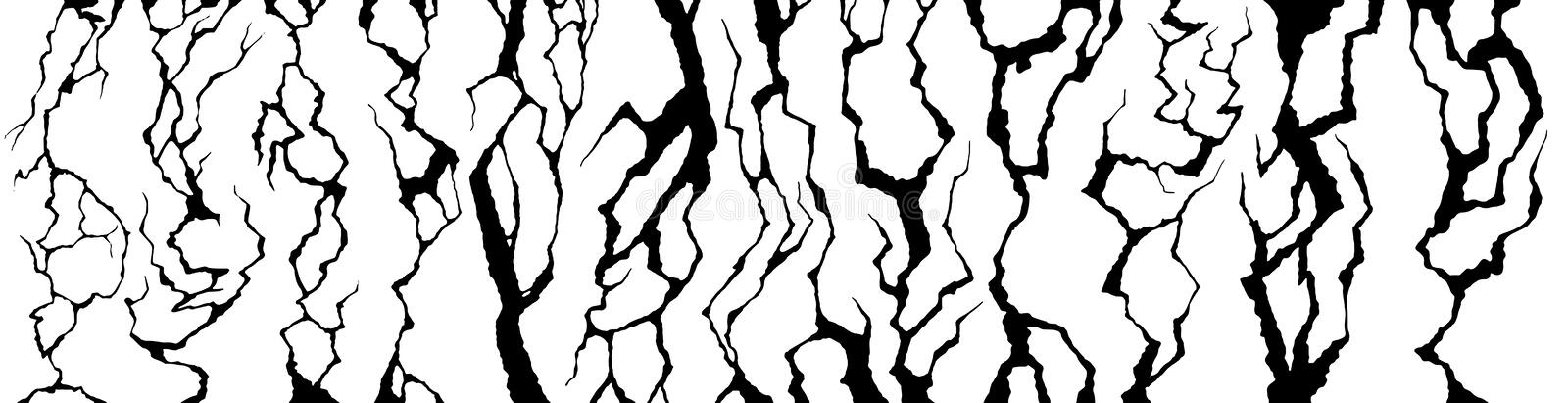 Wall cracks. Clefts crack, cracked damaged surface and fracture craquelure texture vector set royalty free illustration