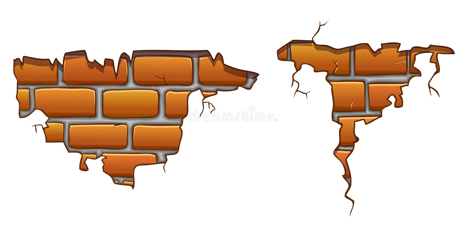 Wall cracks with orange bricks stock illustration