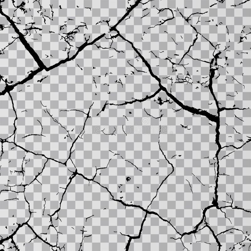 Wall cracks on transparent background. Fracture surface ground, cleft broken collapse illustration stock illustration