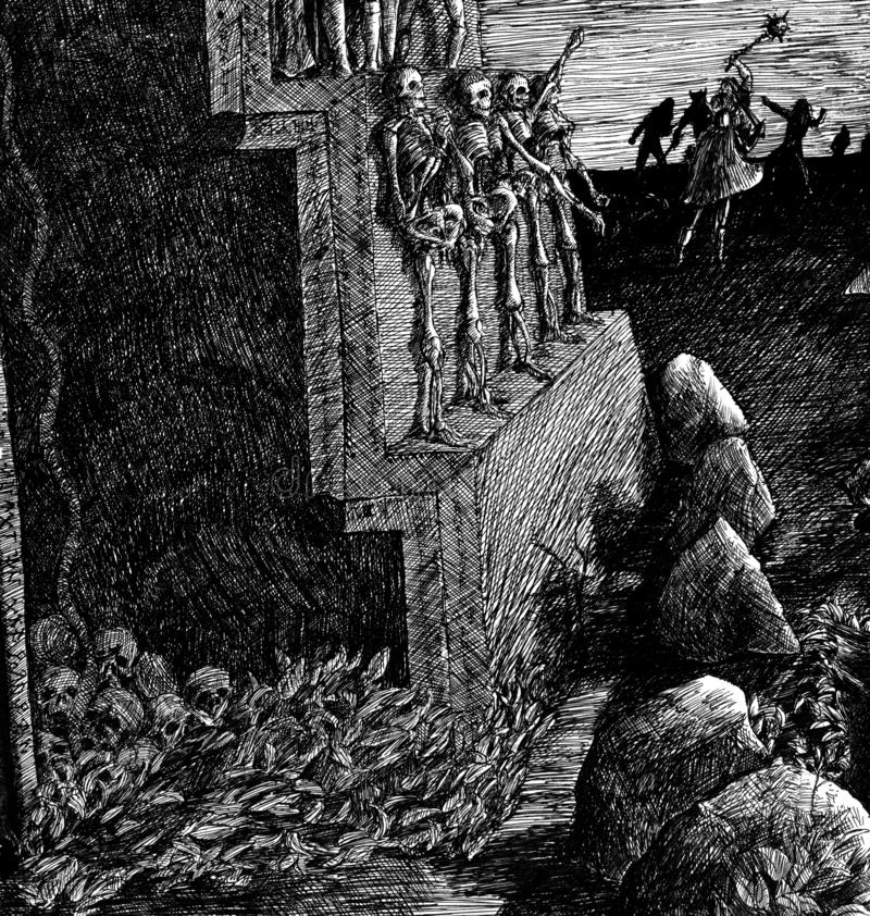 The wall of the crypt with skeletons. Fragment of the wall of the crypt with skeletons, a handful of skulls, the battle at dawn, stones and thickets, a crypt stock illustration