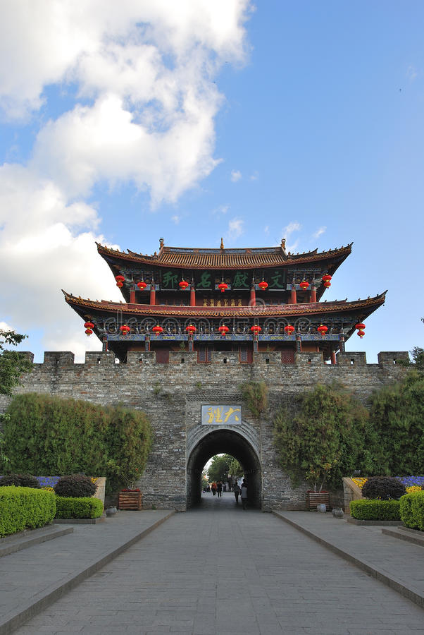 The wall of Dali old city. Dali Old City located in Yunnan Province china.The picture is the south gate of Dali old city royalty free stock image
