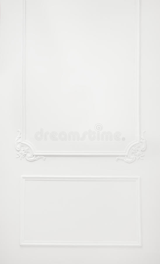 Wall decor. White wall indoor ornate decor stock photography