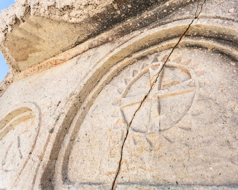 Wall decor of ancient cave church near Goreme town. Travel to Turkey - wall decor of ancient cave church near Goreme town in Cappadocia region stock images
