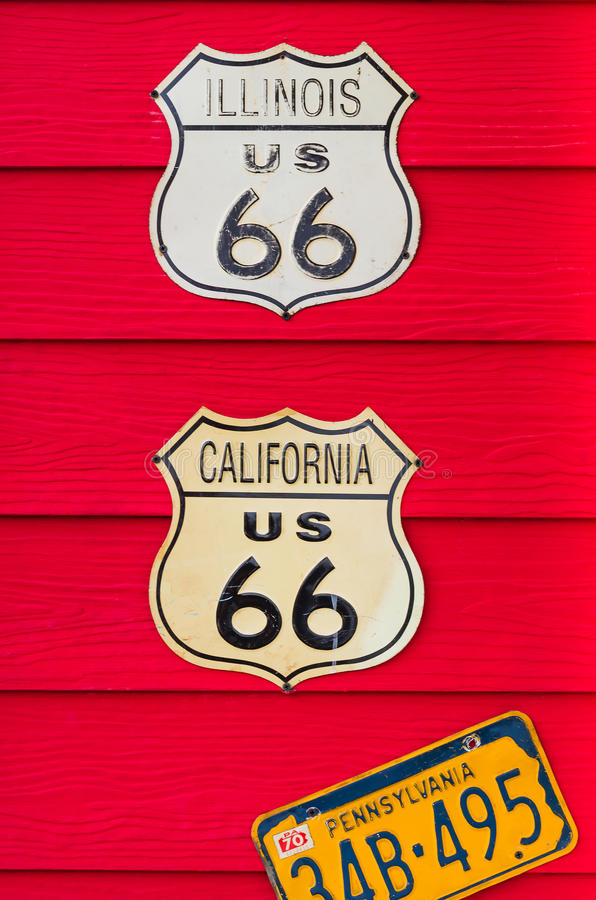 A wall decorate with US badge. A red flashy wall decorate with US badge stock image