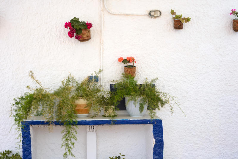Wall decorated with flowers in pots stock images