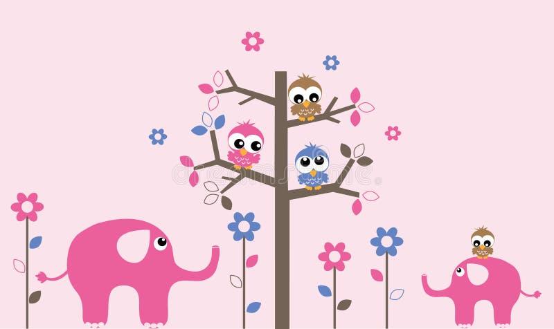 Wall decoration owls elephants. Wall decoration animals owls elephants header banner stock illustration
