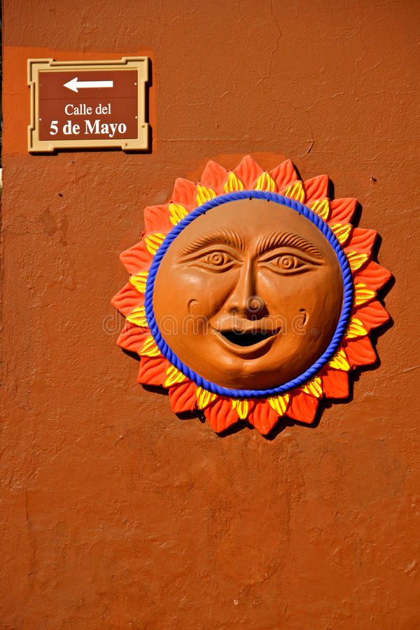 Download Wall Decoration Sun, Mexico Stock Photo - Image: 23225462